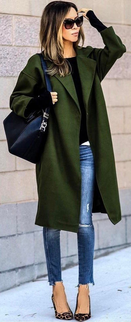 green coats with jeans